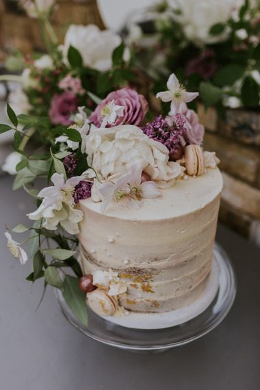 Semi Naked Wedding Cake with Flower & Macaroon Decor | Violet Flower Filled Secret English Garden Inspiration in a Glasshouse Styled by The Timeless Stylist | Maja Tsolo Photography