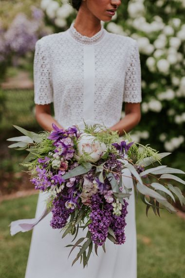 Hyacinth Wedding Bouquet | Violet Flower Filled Secret English Garden Inspiration in a Glasshouse Styled by The Timeless Stylist | Maja Tsolo Photography