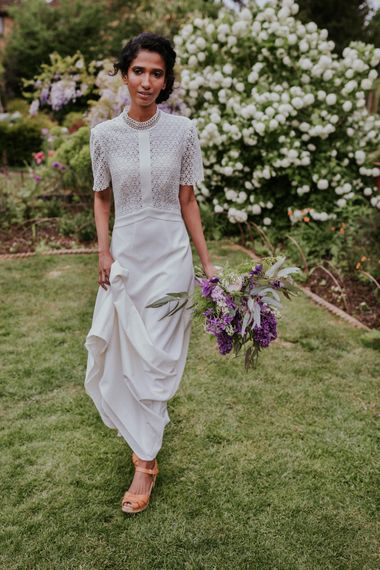 Bride in Whistles Gown & Hyacinth Wedding Bouquet | Violet Flower Filled Secret English Garden Inspiration in a Glasshouse Styled by The Timeless Stylist | Maja Tsolo Photography