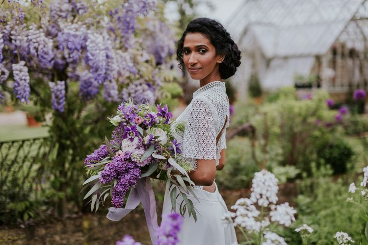 Bride in Backless Whistles Gown & Hyacinth Wedding Bouquet | Violet Flower Filled Secret English Garden Inspiration in a Glasshouse Styled by The Timeless Stylist | Maja Tsolo Photography