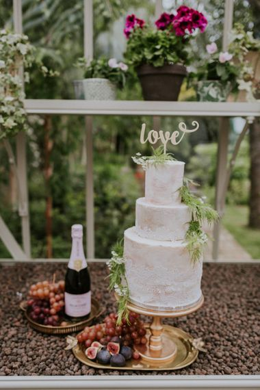 Semi Naked Wedding Cake with Lace Edge | Violet Flower Filled Secret English Garden Inspiration in a Glasshouse Styled by The Timeless Stylist | Maja Tsolo Photography