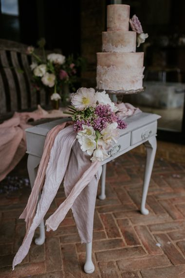 Vintage Dresser, Semi Naked Cake & Hyacinth Wedding Bouquet | Violet Flower Filled Secret English Garden Inspiration in a Glasshouse Styled by The Timeless Stylist | Maja Tsolo Photography