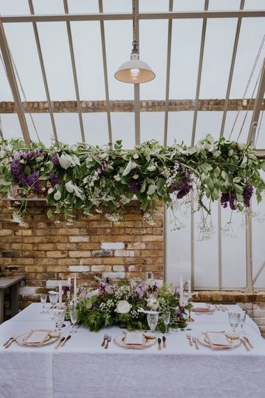 Floral Installation and Tablescape | Violet Flower Filled Secret English Garden Inspiration in a Glasshouse Styled by The Timeless Stylist | Maja Tsolo Photography