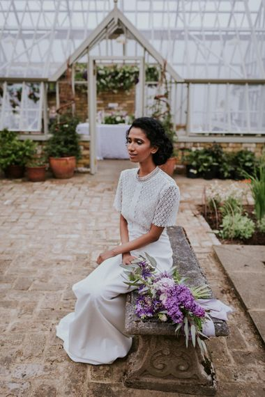 Bride in Whistles Gown | Violet Flower Filled Secret English Garden Inspiration in a Glasshouse Styled by The Timeless Stylist | Maja Tsolo Photography