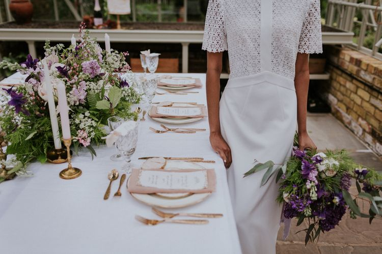 Bride in Whistles Gown | Tablescape | Violet Flower Filled Secret English Garden Inspiration in a Glasshouse Styled by The Timeless Stylist | Maja Tsolo Photography