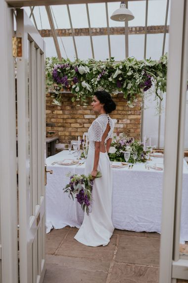 Bride in Backless Whistles Gown | Violet Flower Filled Secret English Garden Inspiration in a Glasshouse Styled by The Timeless Stylist | Maja Tsolo Photography