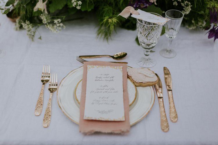 Mathilda Lundin  Wedding Stationery | Elegant Place Setting | Violet Flower Filled Secret English Garden Inspiration in a Glasshouse Styled by The Timeless Stylist | Maja Tsolo Photography