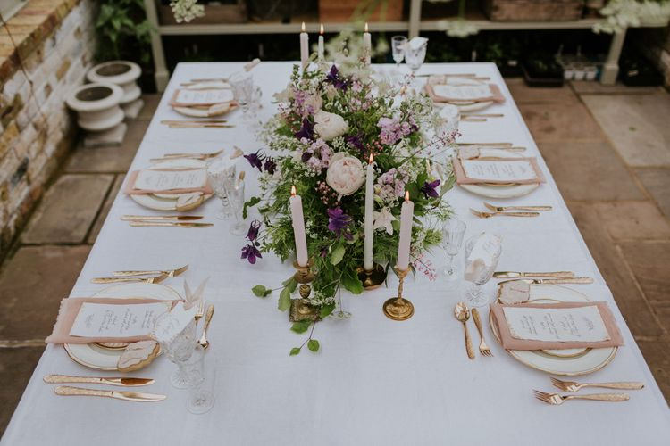 Floral Installation & Table Centrepiece with Elegant Place Setting | Violet Flower Filled Secret English Garden Inspiration in a Glasshouse Styled by The Timeless Stylist | Maja Tsolo Photography