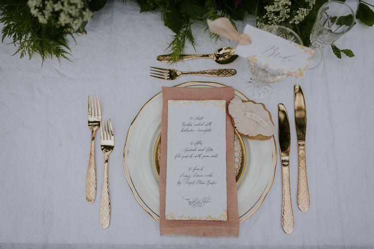 Elegant Place Setting with Mathilda Lundin  Wedding Stationery | Violet Flower Filled Secret English Garden Inspiration in a Glasshouse Styled by The Timeless Stylist | Maja Tsolo Photography