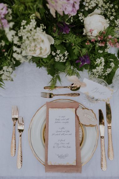Elegant Place Setting with Mathilda Lundin  Wedding Stationery & Floral Centrepiece | Violet Flower Filled Secret English Garden Inspiration in a Glasshouse Styled by The Timeless Stylist | Maja Tsolo Photography