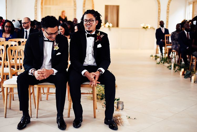 Black Groom and Best Man Waiting at The Altar at Northbrook Park in Tuxedos