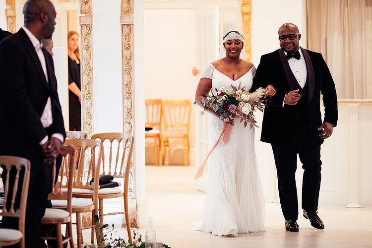 Black Bride in Juliet Cap Veil and Eliza Jane Howell Wedding Dress Walking Down the Aisle at Northbrook Park