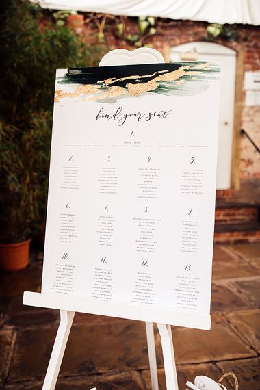 Find Your Seat Wedding Sign with Script Font and Gold Detailing