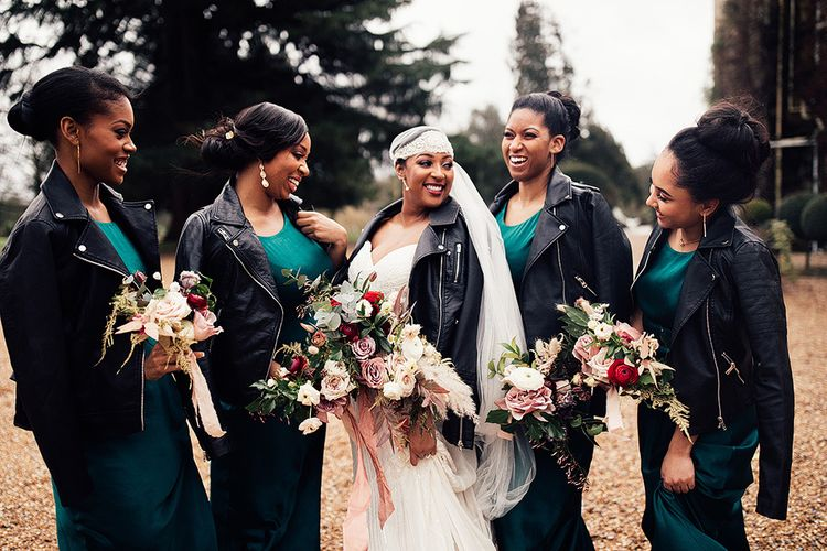 Black Bridal Party in Leather Jackets