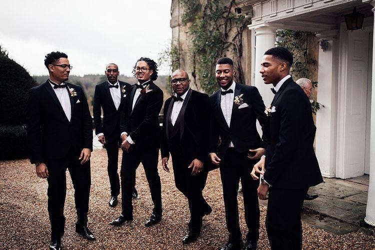 Black Groomsmen in Tuxedos