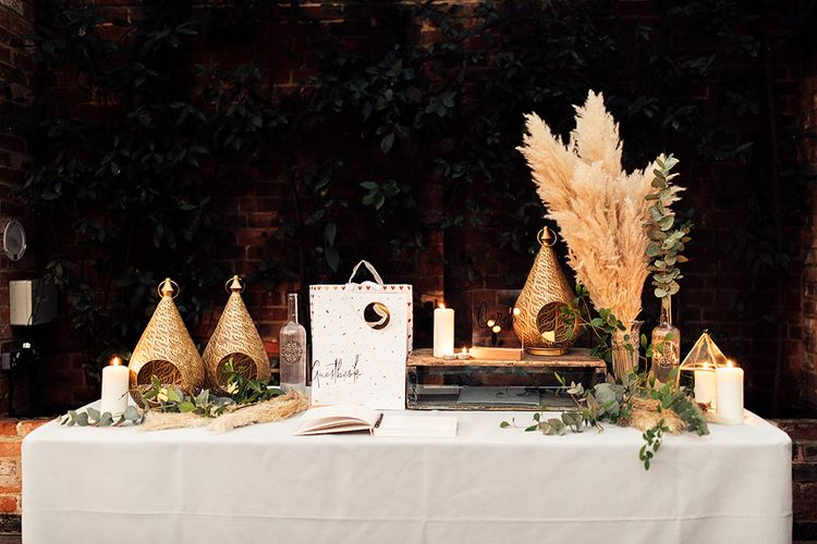 Guest Book Table with Pampas Grass and Foliage Decor