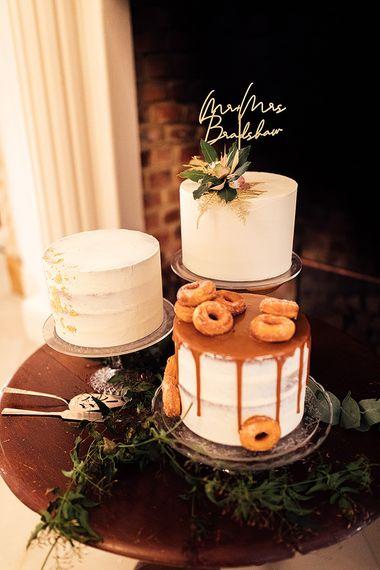 Three Single Tier Wedding Cakes Dessert Table