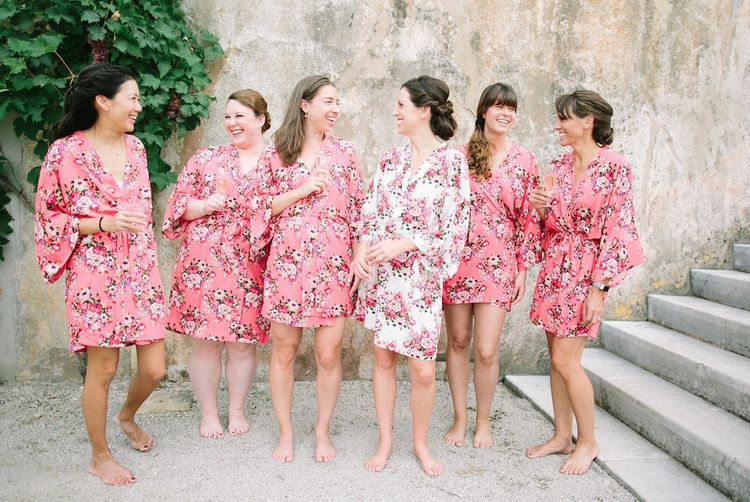 Bridal Party in Matching Floral Getting Ready Robes