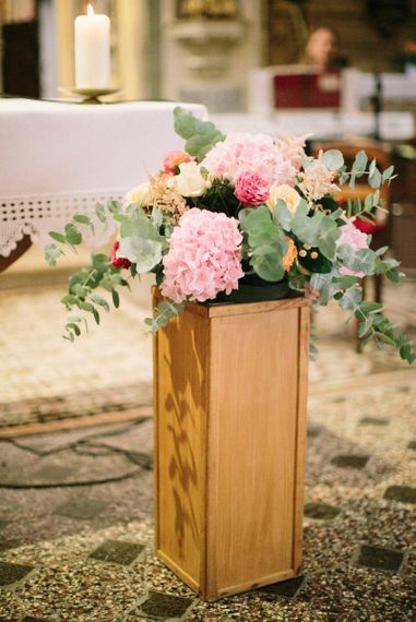 Church Floral Arrangement with Pink Hydrangea, Eucalyptus  & Roses