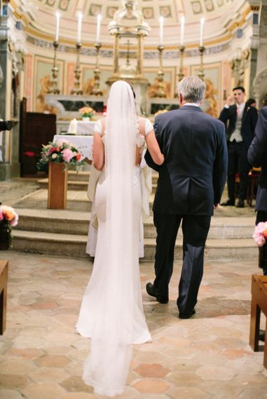 Wedding Ceremony with Bride in Rime Arodaky Wedding Dress & Cathedral Length Veil