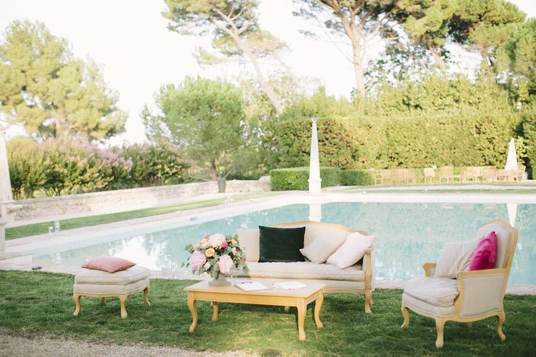 Chill Out  Zone Next to the Pool with Vintage Sofa