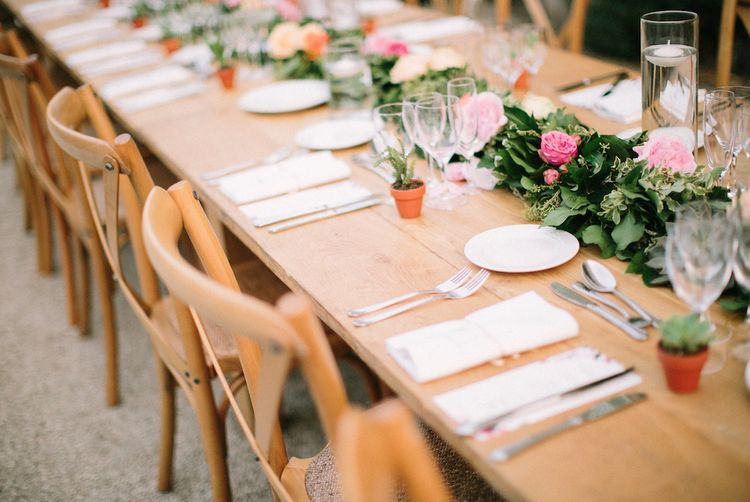 Outdoor Reception Table Decor with Miniature Plant Pots and Floral Table Runner