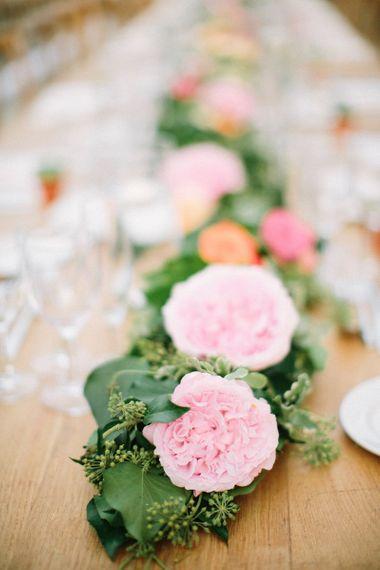 Pink David Austin Rose Wedding Flower Centrepiece
