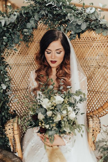 Bride with White Flower & Green Foliage Bouquet | Geometric Wedding Decor & Styling by Locate to Create at The Cherry Barn | Rebecca Carpenter Photography