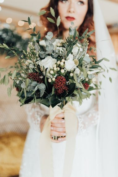 Green Foliage & White Wedding Bouquet | Geometric Wedding Decor & Styling by Locate to Create at The Cherry Barn | Rebecca Carpenter Photography