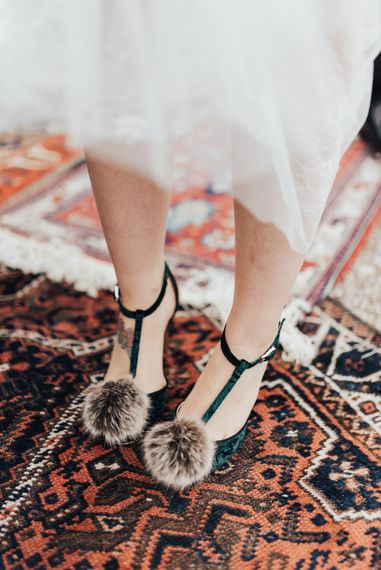 Fluffy Pom Pom T-Bar Wedding Shoes | Geometric Wedding Decor & Styling by Locate to Create at The Cherry Barn | Rebecca Carpenter Photography