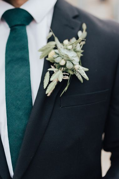 Foliage Buttonhole | Geometric Wedding Decor & Styling by Locate to Create at The Cherry Barn | Rebecca Carpenter Photography