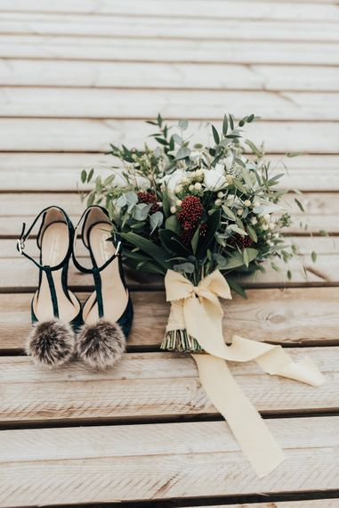 Pom Pom T-Bar Bridal Shoes & Bouquet | Geometric Wedding Decor & Styling by Locate to Create at The Cherry Barn | Rebecca Carpenter Photography
