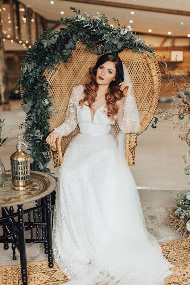 Bride on Peacock Chair | Geometric Wedding Decor & Styling by Locate to Create at The Cherry Barn | Rebecca Carpenter Photography