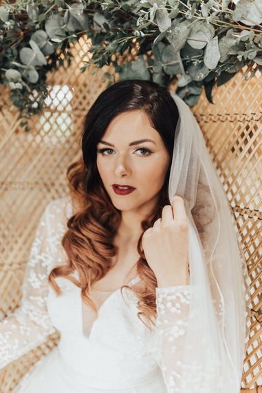 Bridal Beauty | Wedding Makeup | Geometric Wedding Decor & Styling by Locate to Create at The Cherry Barn | Rebecca Carpenter Photography