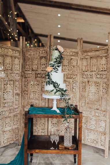Feature Wedding Cake with Moroccan Screen Backdrop | Geometric Wedding Decor & Styling by Locate to Create at The Cherry Barn | Rebecca Carpenter Photography