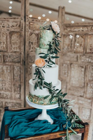 Elegant Wedding Cake with Green & Gold Wedding Decor | Geometric Wedding Decor & Styling by Locate to Create at The Cherry Barn | Rebecca Carpenter Photography