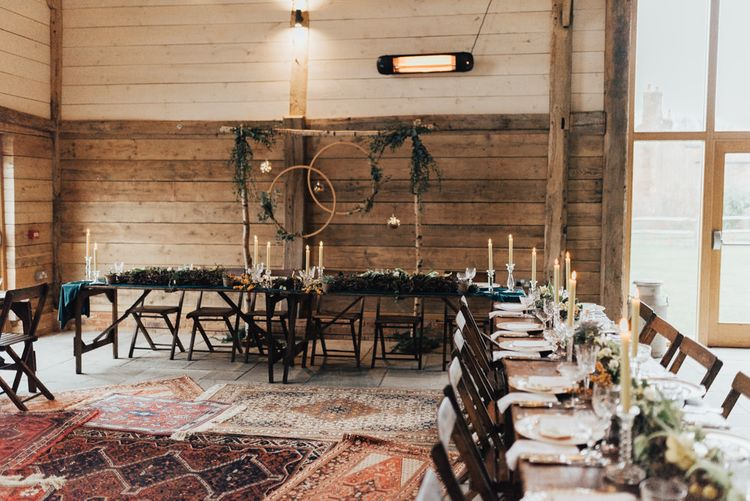 Trestle Table Wedding Reception Tables | Fairy Lights | Taper Candles | Vintage Crockery & Cut Glass | Geometric Wedding Decor & Styling by Locate to Create at The Cherry Barn | Rebecca Carpenter Photography