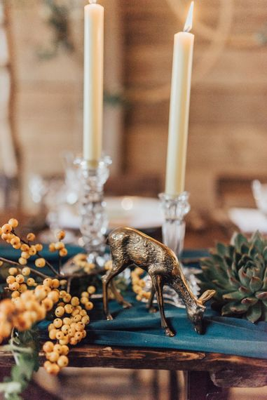 Wedding Reception Table Decor | Geometric Wedding Decor & Styling by Locate to Create at The Cherry Barn | Rebecca Carpenter Photography