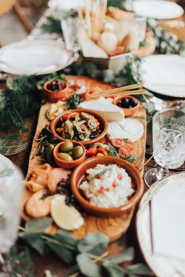Grazing Board Wedding Reception Food | Geometric Wedding Decor & Styling by Locate to Create at The Cherry Barn | Rebecca Carpenter Photography