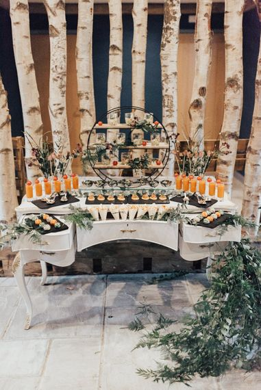 Vintage Dresser Dessert Bar | Geometric Wedding Decor & Styling by Locate to Create at The Cherry Barn | Rebecca Carpenter Photography