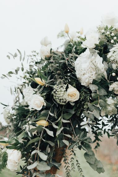 White Wedding Flowers with Greenery |  Geometric Wedding Decor & Styling by Locate to Create at The Cherry Barn | Rebecca Carpenter Photography
