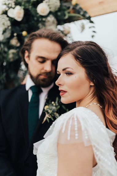 Beautiful Bridal Makeup | Geometric Wedding Decor & Styling by Locate to Create at The Cherry Barn | Rebecca Carpenter Photography