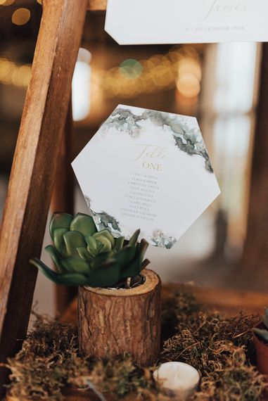 Hexagonal Table Plan Stationery in Succulent Plant Pot | Geometric Wedding Decor & Styling by Locate to Create at The Cherry Barn | Rebecca Carpenter Photography