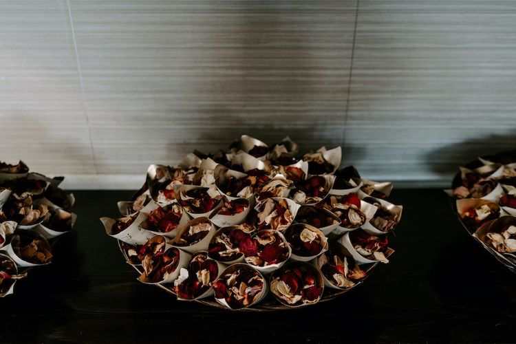Homemade dried petals for confetti