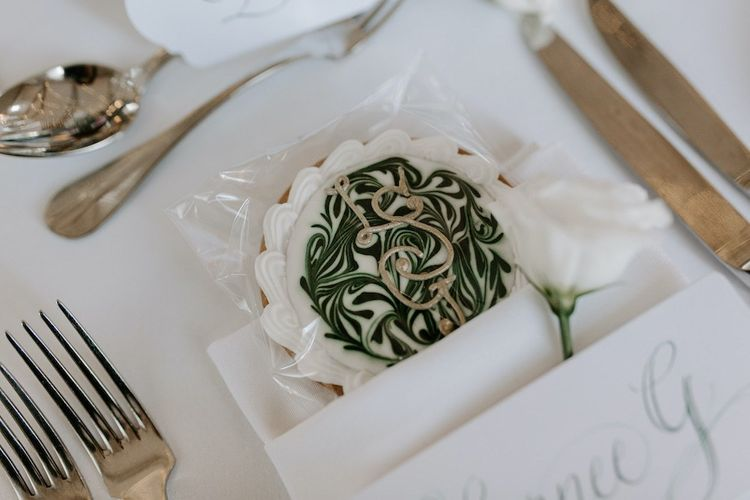 Handmade wedding favour biscuits