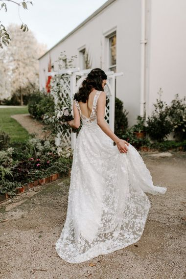Bride dress with lace overlay and low back