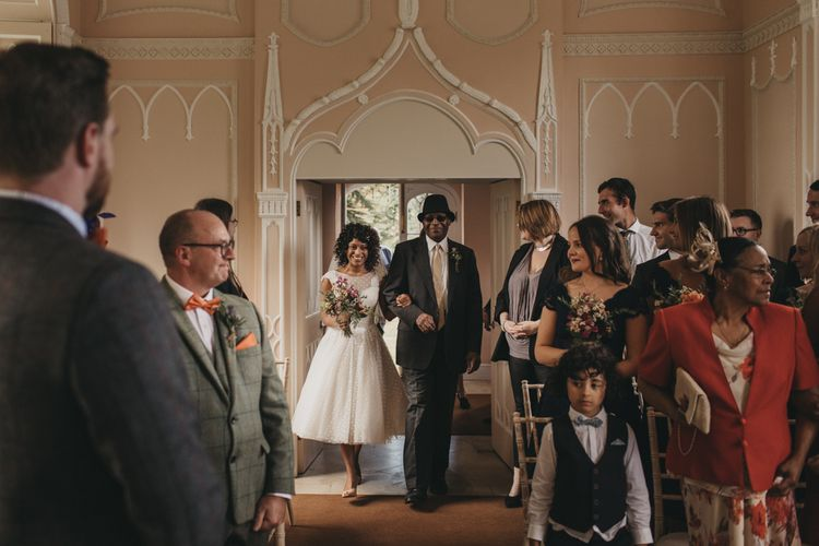 Wedding Ceremony Bridal Entrance in Tea Length Wedding Dress