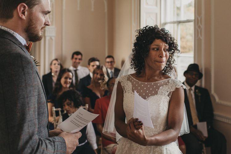 Wedding Ceremony with Emotional Bride in Polka Dot Tulle Short Wedding Dress
