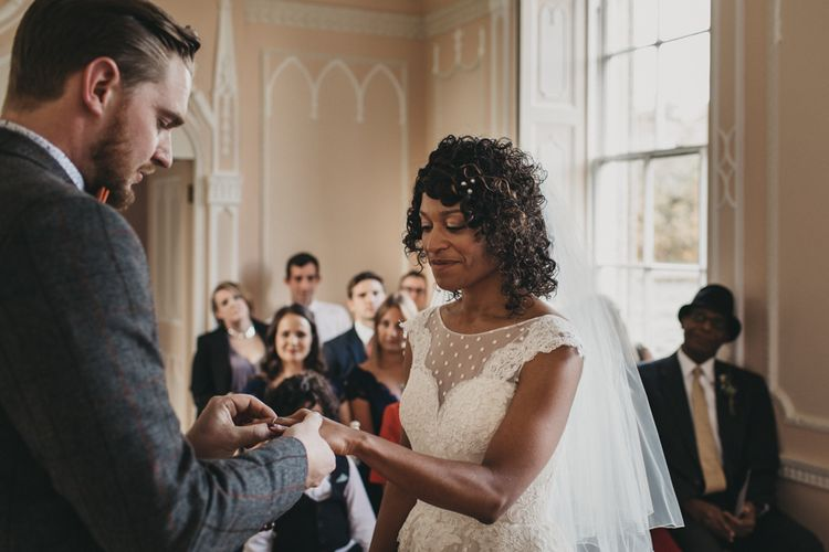 Wedding Ceremony with Bride in Polka Dot Tulle Short Wedding Dress Exchanging Rings