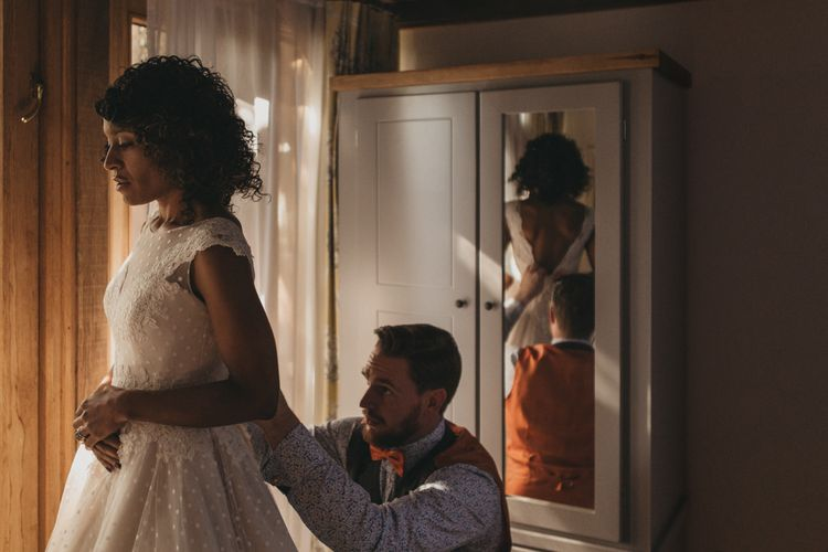 Wedding Morning Bridal Preparations with Bride in Tea Length Wedding Dress